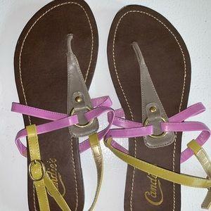 Candies sandals flat strap multicolor Kohl's